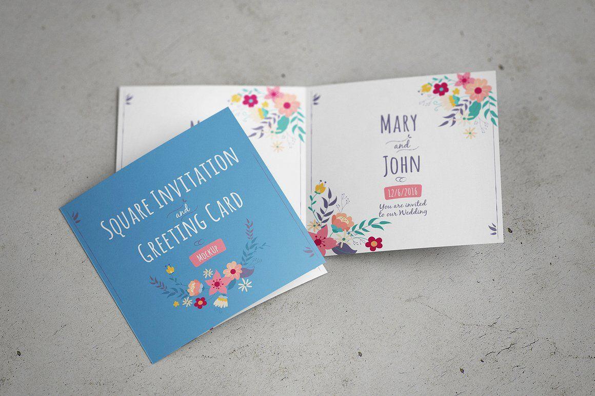 Invitation Greeting Card Mock Up Smart Object Editable