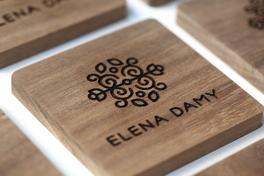 Elena Damy logo and walnut engraved business cards | Business ...