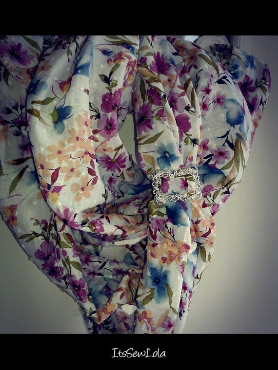 Floral Infinity Summer Scarf with Silver Baroque Buckle at etsy.com/shop/ItsSewLola