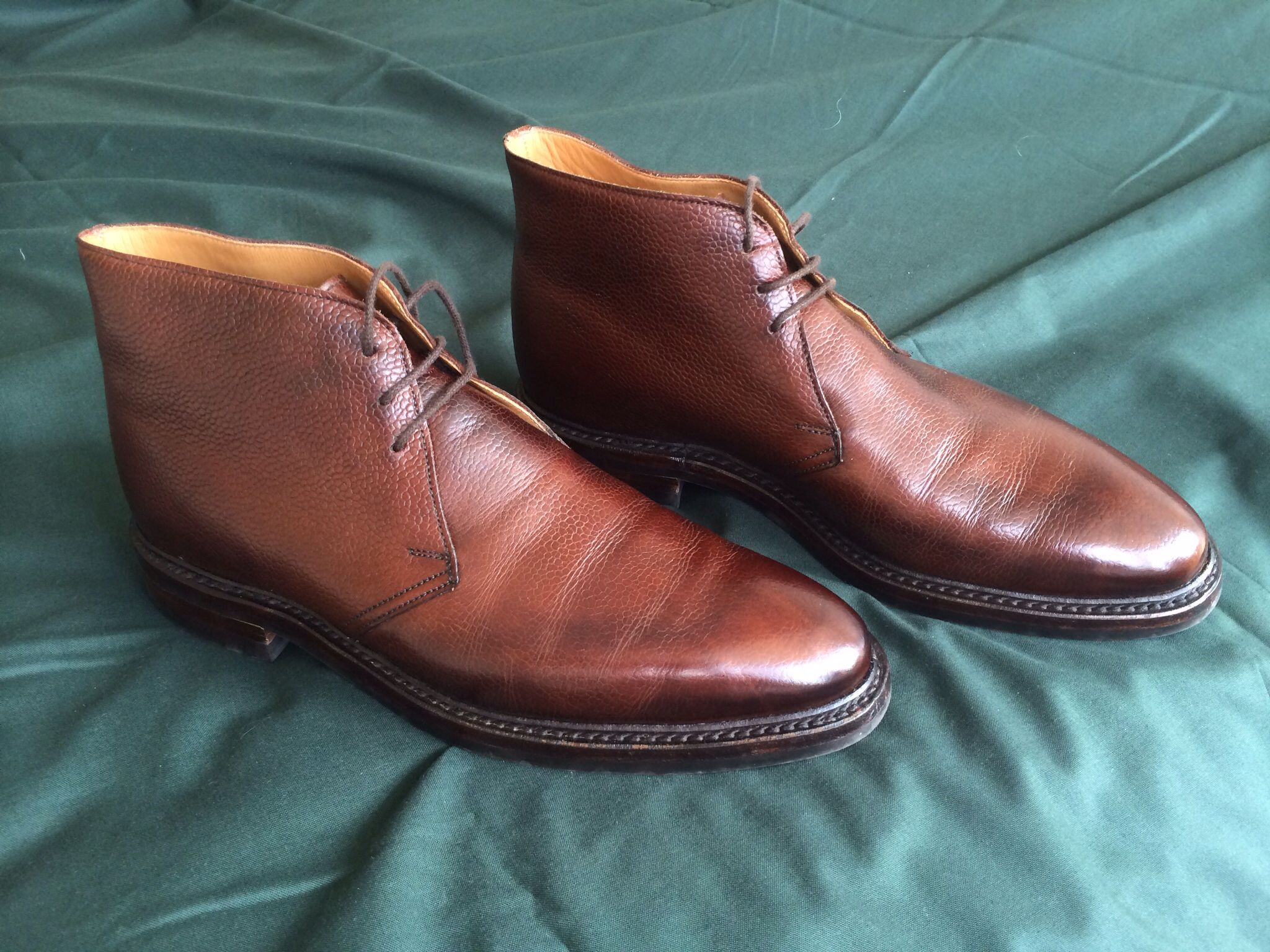 Crockett and Jones Brecon Brown country grain boots an ankle height derby  boot with plain front