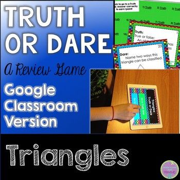 triangles truth or dare math game for google classroom slides