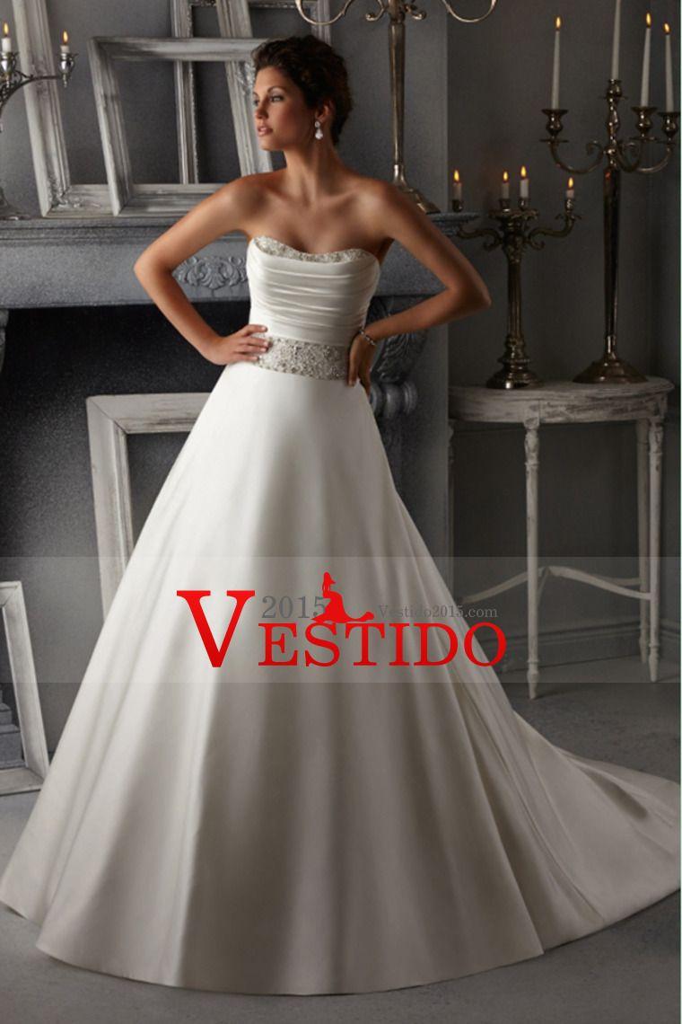 2014 vestido de novia sin tirantes de blusa plisada con cuentas una ...