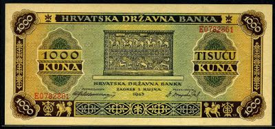 Croatia 1000 Croatian Kuna Banknote Of 1943 Issued By The Croatian State Bank Zagreb Hrvatska Drzavna Banka In Circulation Fr Bank Notes World Coins Kuna