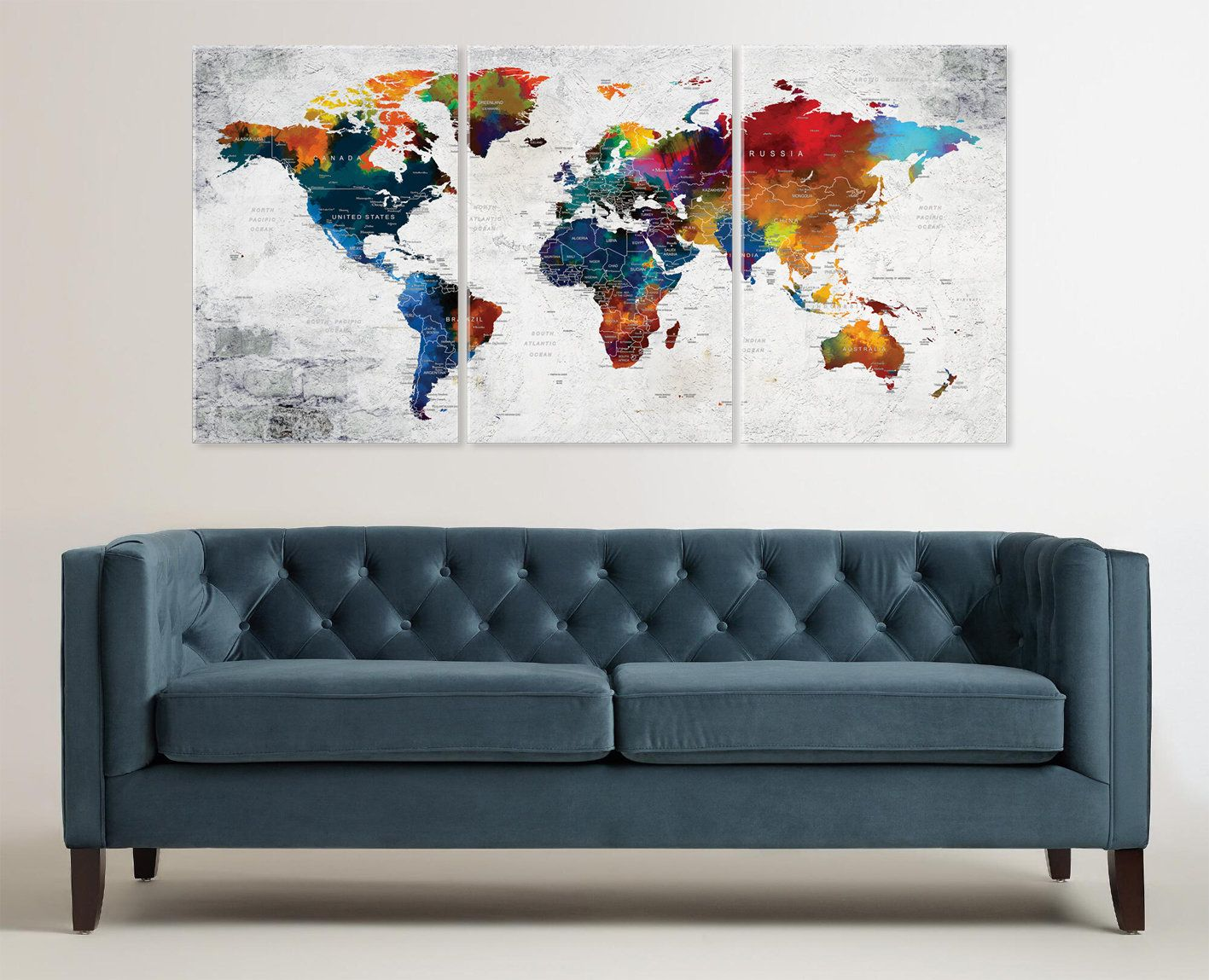 Large canvas world map art colorful push pin travel map wall decor my new design sharing to my etsy shop large canvas worldmap art colorful push pin travel map wall decor watercolor texture canvas map home or office gumiabroncs Images