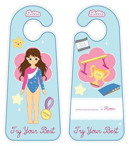 Raising the Bar gymnastics Lottie doll door hangers for kids #free #printables Download at www.lottie.com/create/