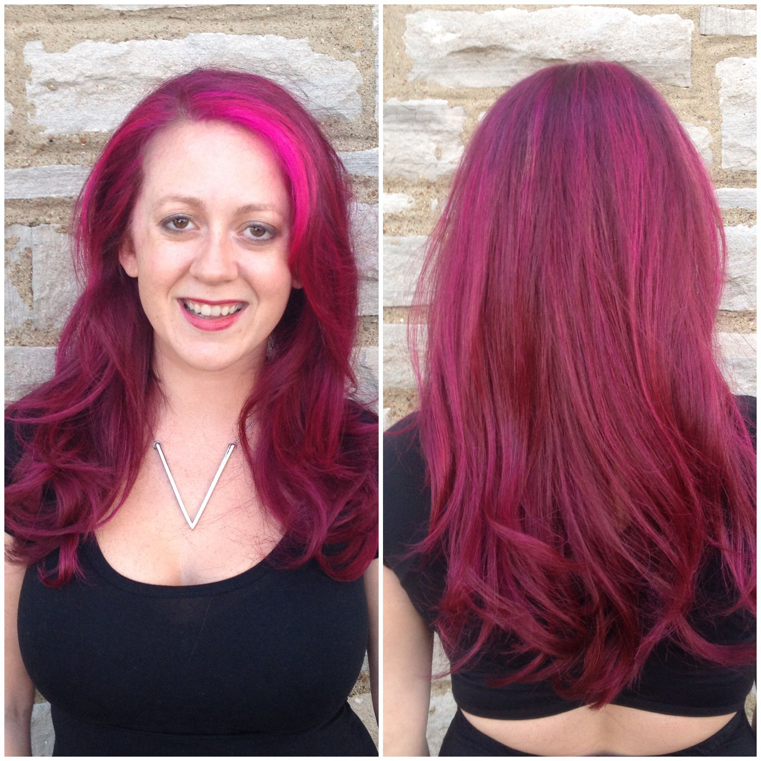 Pinkvioletred Hair Aveda Full Spectrum Color With Manic Panic Hot