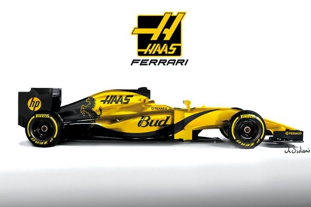 2016 F1 Haas F1 To Have Yellow Livery Like The Ferrari Logo Formula 1 Racing Posters Sports Car Racing