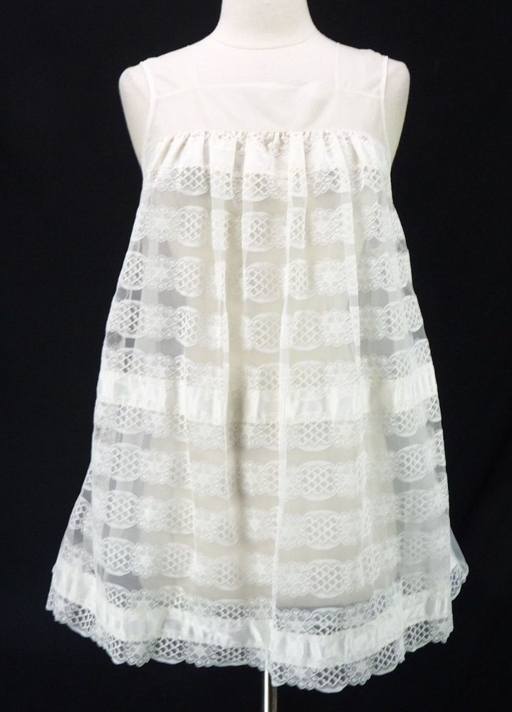 Vintage 60s White Tiered Lace Double Chiffon Sheer Babydoll Sissy Nightgown  S  Unbranded 1af596fe0