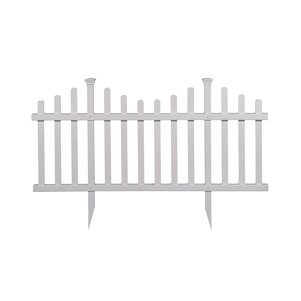 Zippity Outdoor Products 2 5 Ft X 4 7 Ft Madison No Dig Vinyl Garden Picket Fence Panel Kit 2 Pack Zp19001 Diy Garden Fence Fence Panels Garden Fence Panels