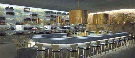 teil der modernen hotelbar ist eine begehbare vinothek, Innenarchitektur ideen
