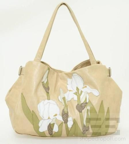 Susannah Hunter Tan White Flower Leather Handbag