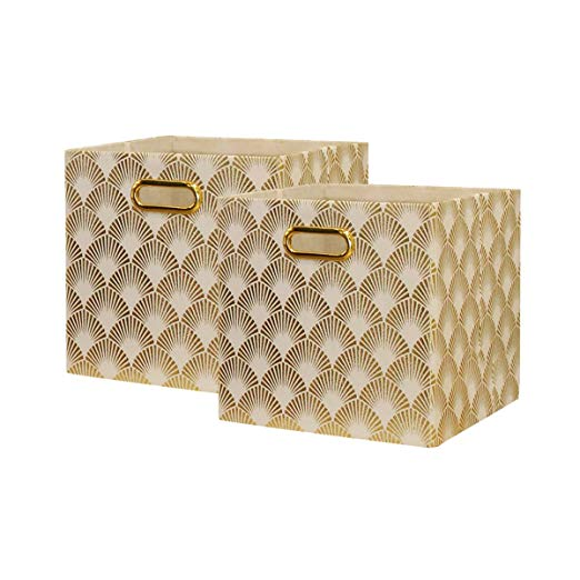Amazon Com Baist Cube Storage Bins Foldable Square Gold Fabric Decorative Cubby Storage Cubes Bins Baskets Cube Storage Bins Cube Storage Fabric Storage Cubes