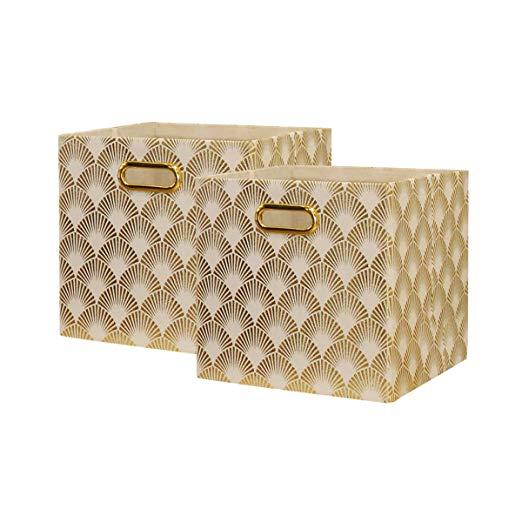 Amazon Com Baist Cube Storage Bins Foldable Square Gold Fabric Decorative Cubby Storage Cubes Bins Baskets Cube Storage Bins Cube Storage Fabric Storage Cubes
