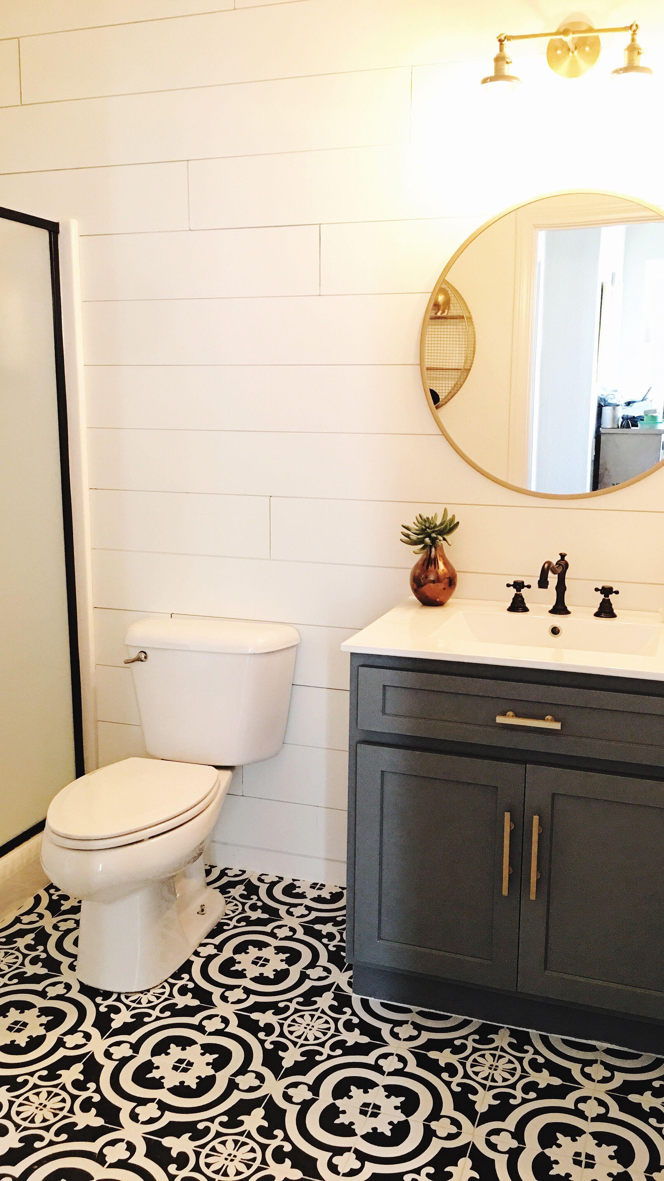 Cement Tile Farmhouse Bathroom Diy Remodel Gold Shiplap