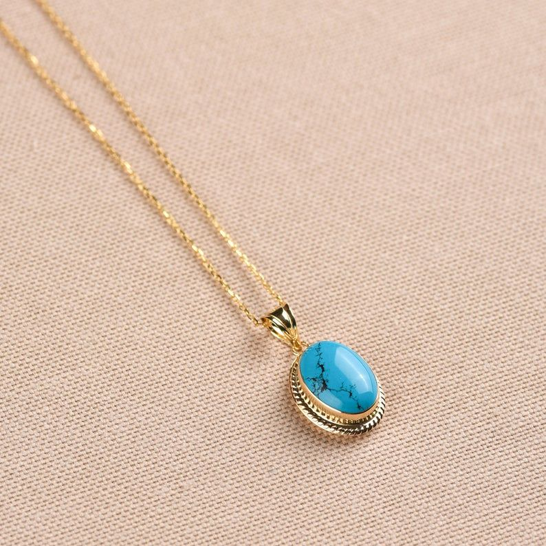 Turquoise Necklace 14k Solid Gold Boho Necklace For Women Etsy Turquoise Necklace Turquoise Pendant Necklace