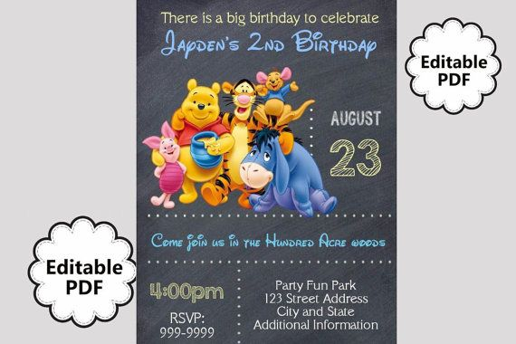 Editable Text Winnie The Pooh Birthday Invitation Winnie The Pooh Party Invites Win Birthday Invitations Winnie The Pooh Birthday 1st Birthday Invitations
