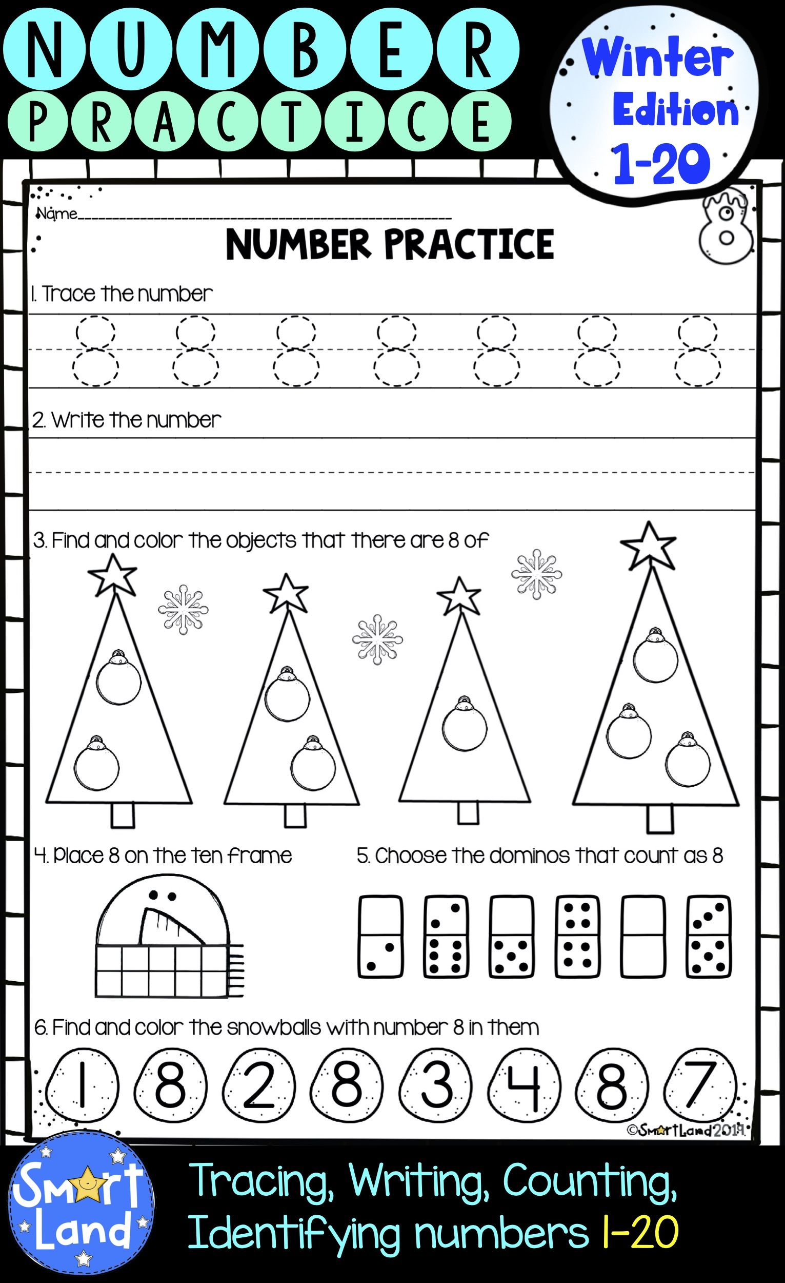 Numbers 1 20 Handwriting And Counting Practice Worksheets Winter Edition Numbers Kindergarten Math Number Sense Comparing Numbers Kindergarten [ 2500 x 1531 Pixel ]