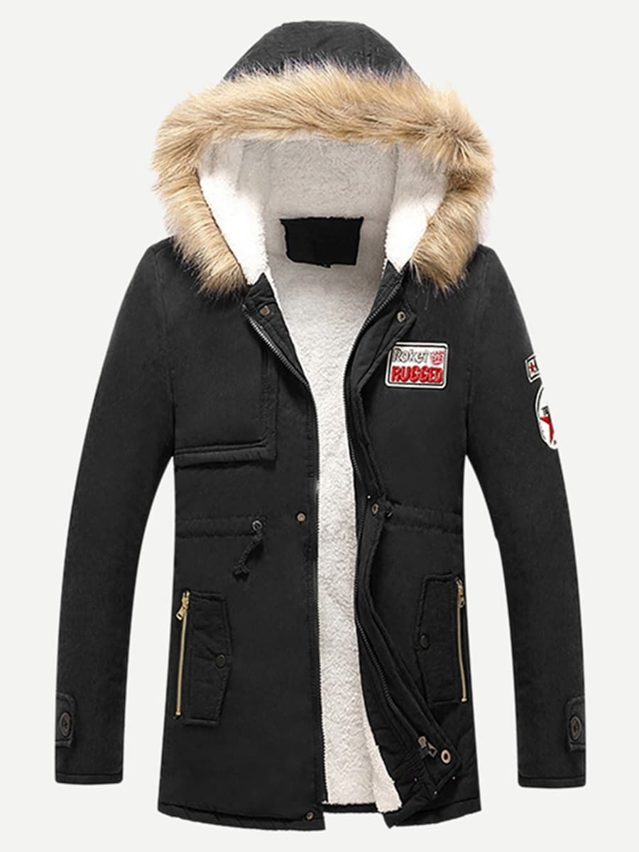 Men Shearling Lined Patched Hooded Coat Shein Sheinside Casual Coat Winter Jackets Hooded Cotton Coat [ 1199 x 900 Pixel ]