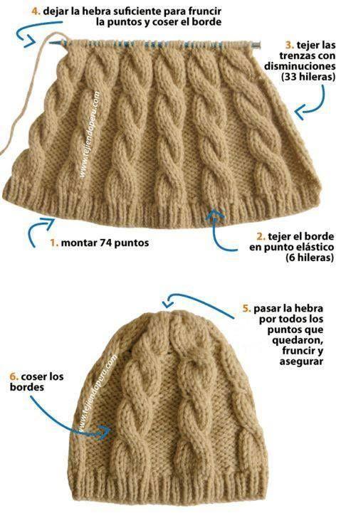 Gorro com tranças: | tricot | Pinterest | Mütze, Stricken und Hauben