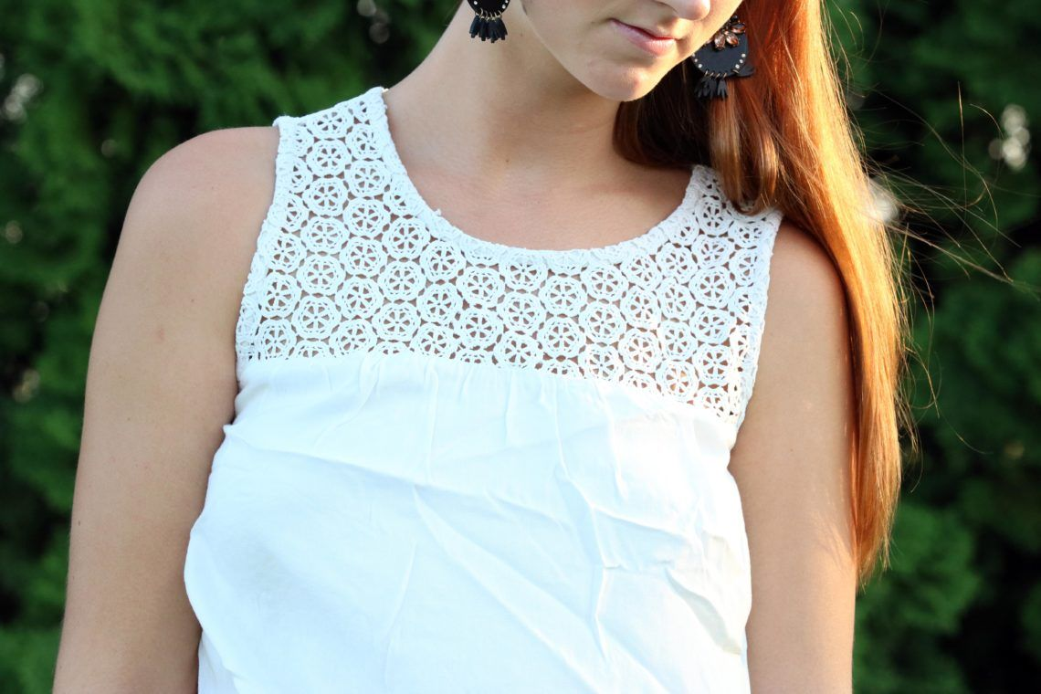 White on white black statement earrings navy tops mondays and navy