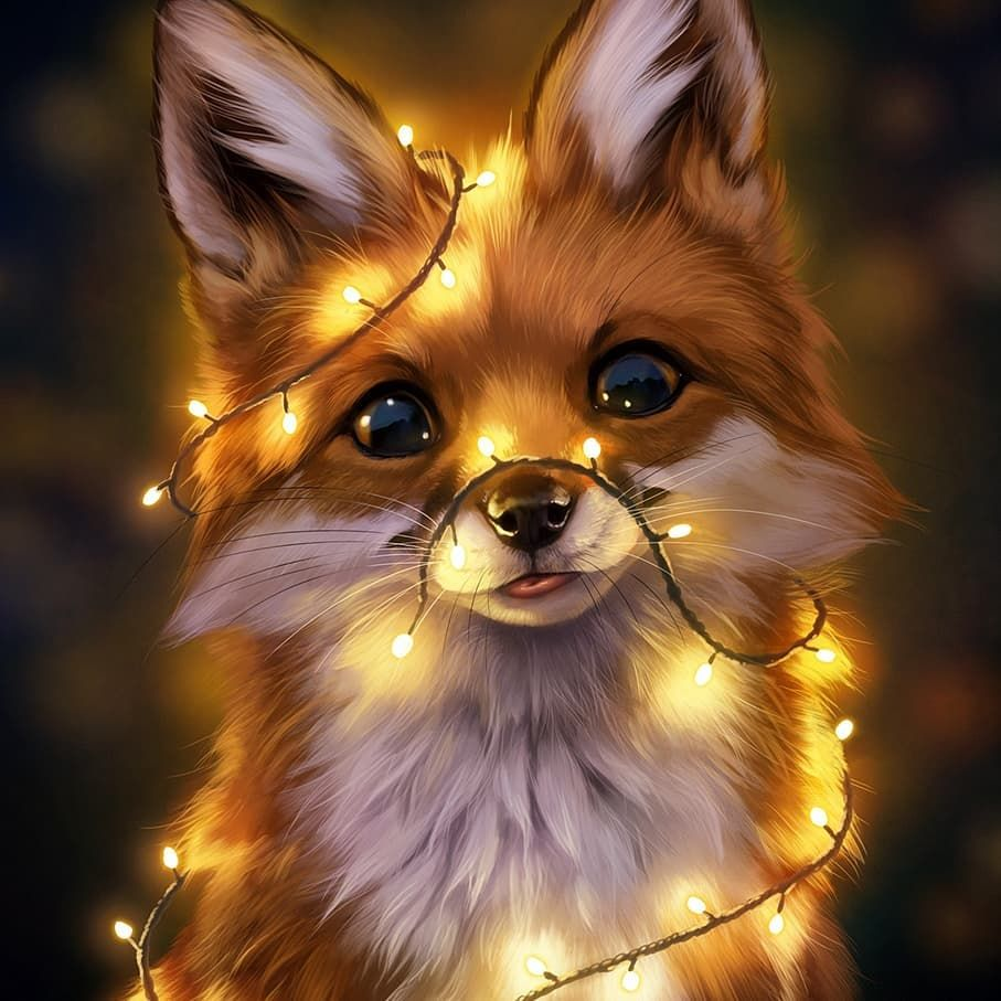 "Johanna Tarkela on Instagram: ""Finished! Wanted to make a little Holiday themed painting and a cute fox with fairy lights ensued"