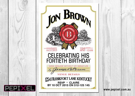 Jim Beam Birthday Digital Printable Invitation Template Jack - Digital birthday invitation template