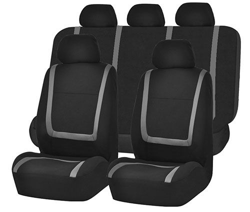 Unique Flat Cloth Seat Cover W 5 Detachable Headrests And Solid Bench Gray Black Fit Most Car Truck Suv Or Van