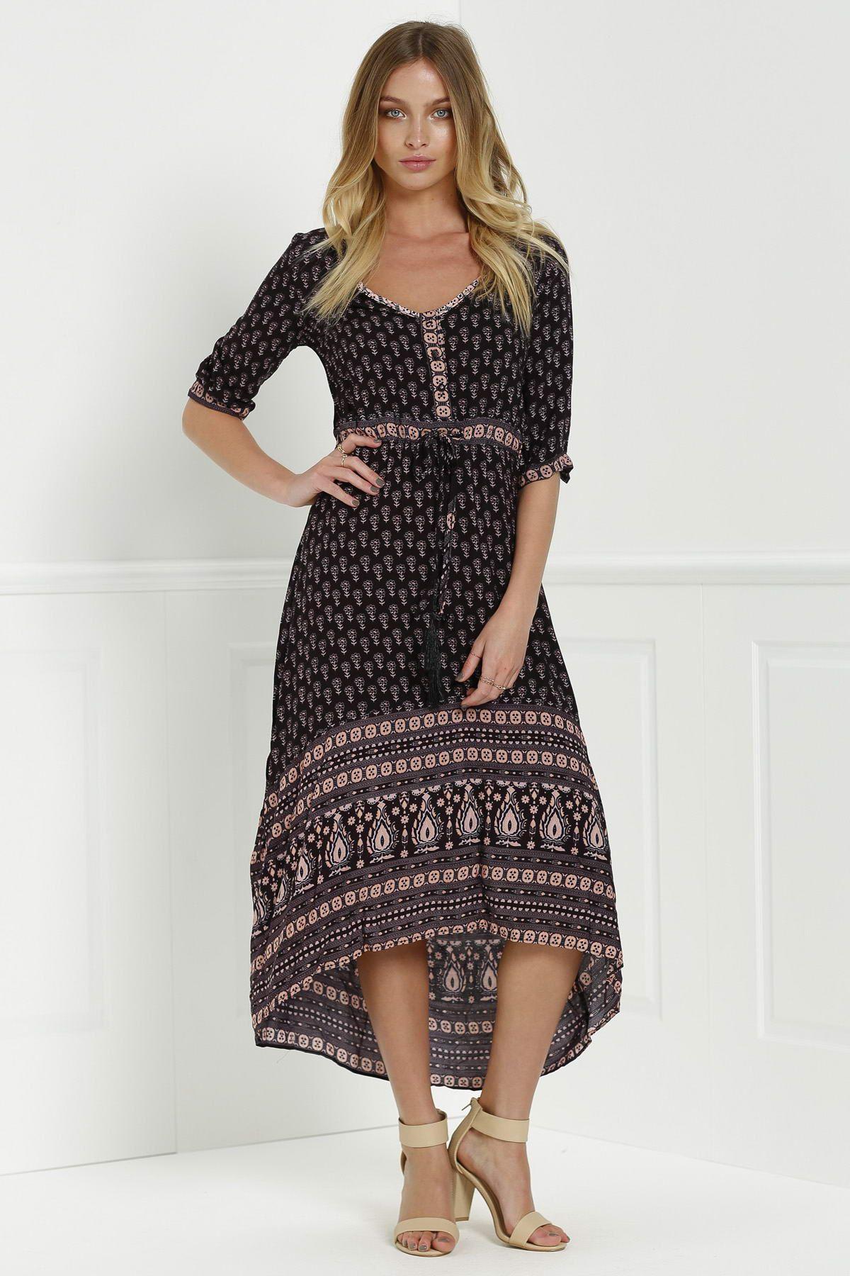 Stylish v neck sleeve ethnic print maxi dress dream wardrobe