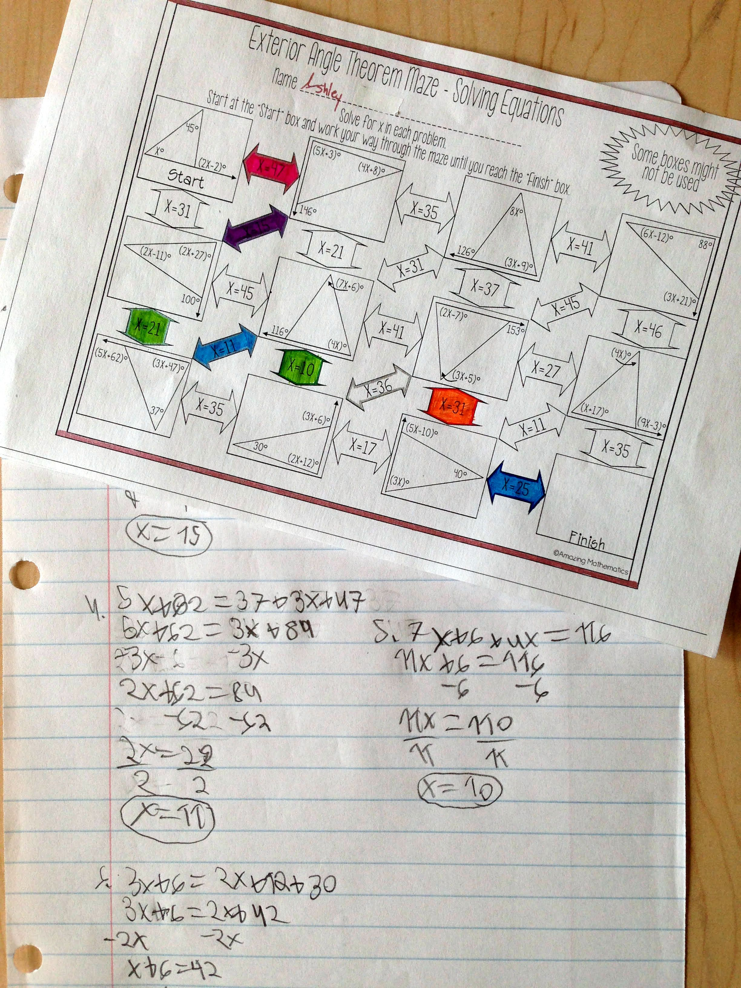Exterior Angle Theorem Maze - Solving Equations Worksheet ...
