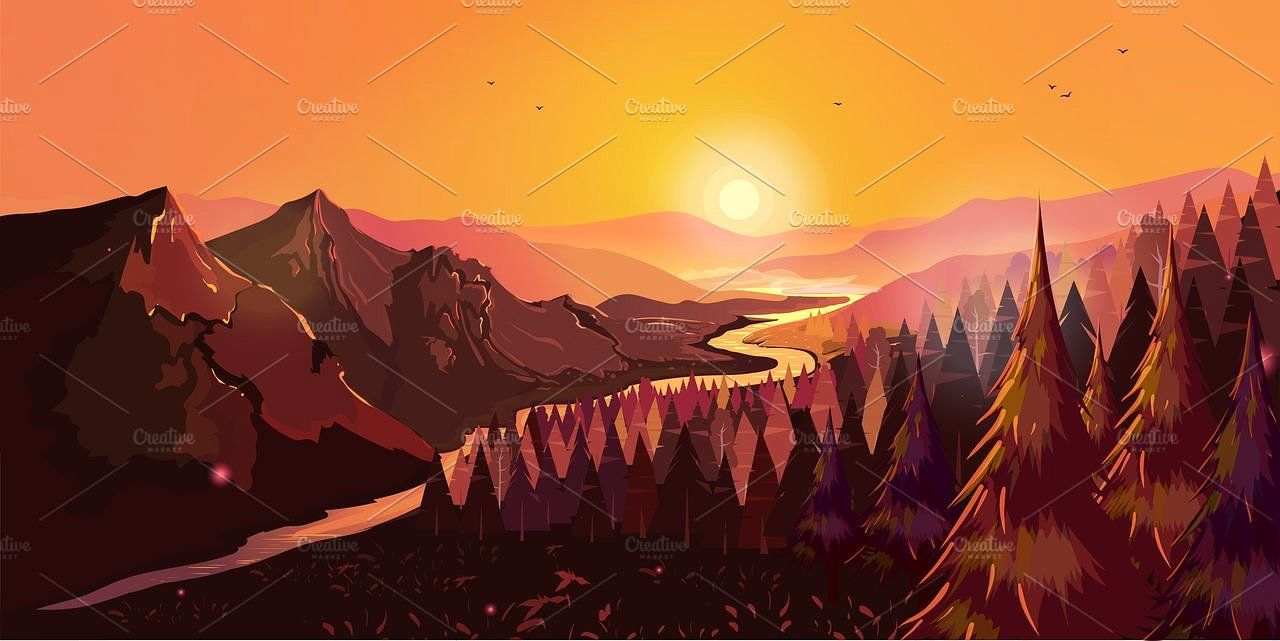 Landscape Mountains And Forest Mountain Illustration Illustration