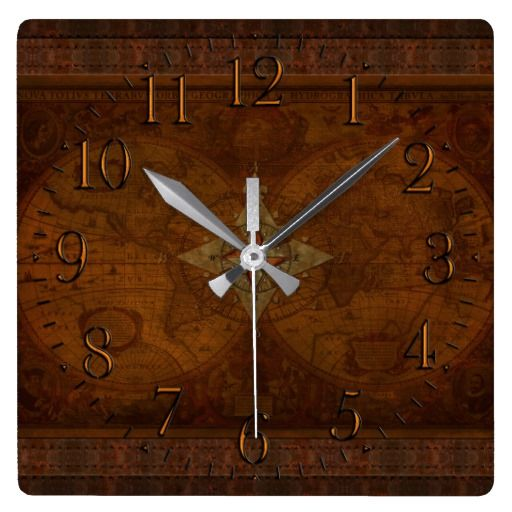 Antique steampunk compass rose old world map square wall clock antique steampunk compass rose old world map square wall clock gumiabroncs Images