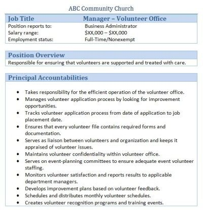 Sample Church Employee Job Descriptions Job description and Churches - youth pastor resume template