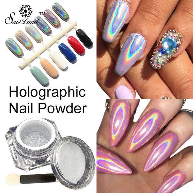 1g/Box Rainbow Shinning Mirror Nail Glitter Powder Perfect ...