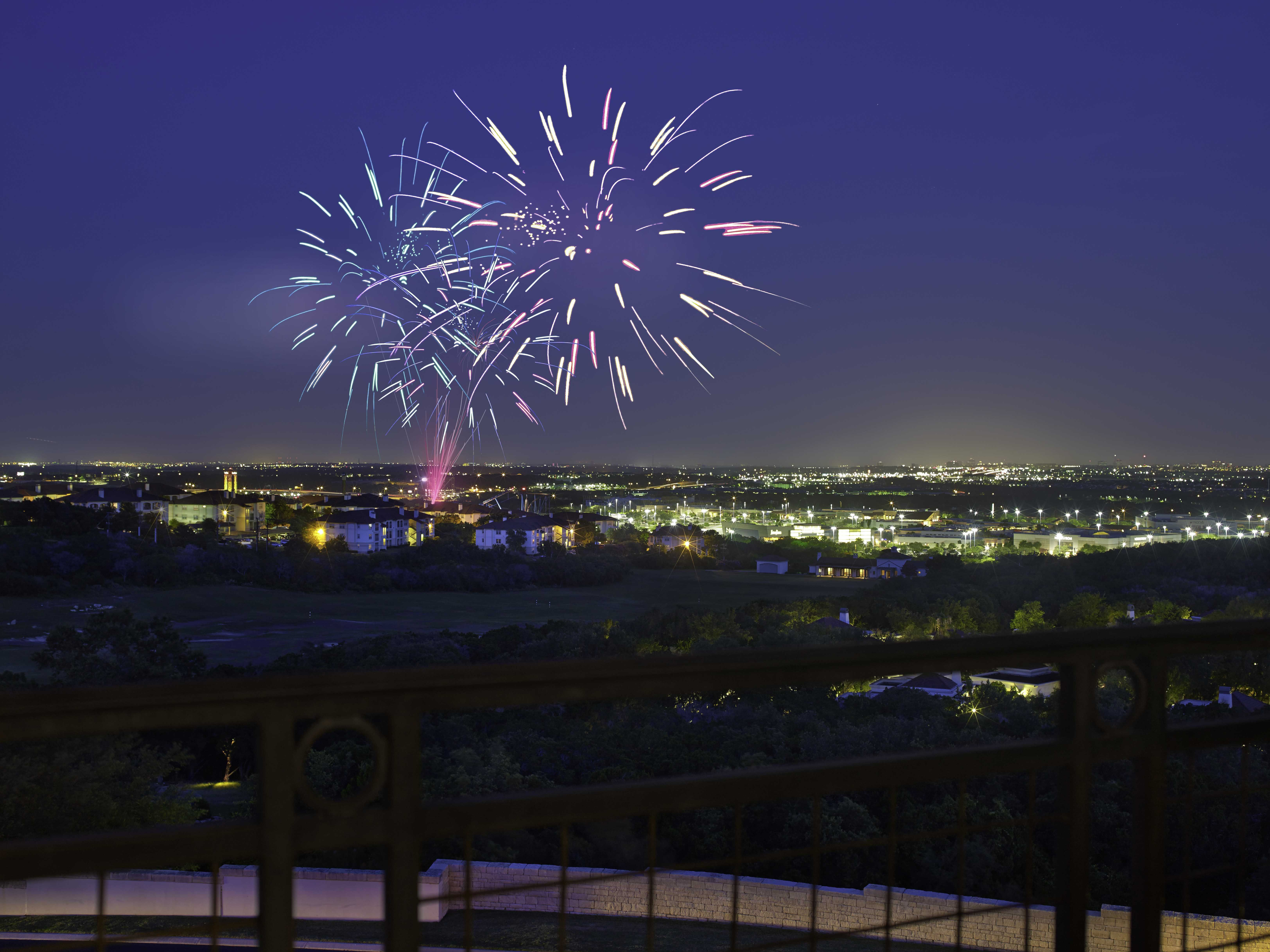 View Of Fireworks From Six Flags Fiesta Texas From La Cantera Hill Country Resort Lacantera Resort Hill Country Resort San Antonio Photography Travel Dreams