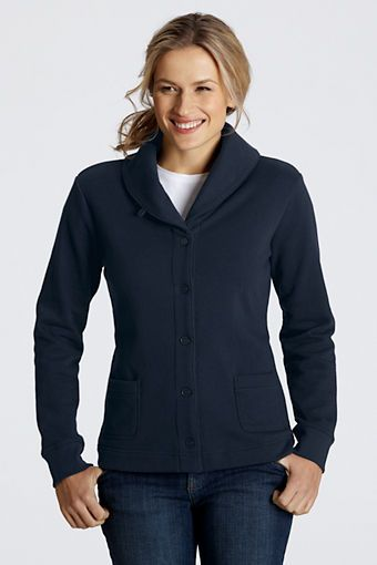 The Not a Sweatshirt sweatshirt.  Women's Fleece Shawl Collar Cardigan from Lands' End