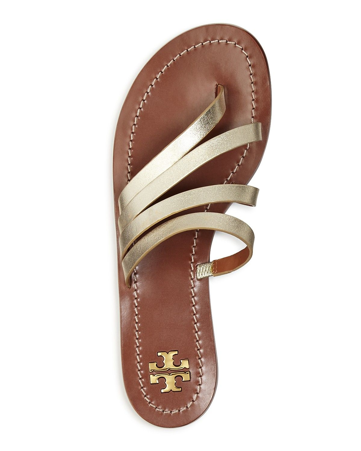 511895f1f Tory Burch Patos Metallic Leather Thong Sandals