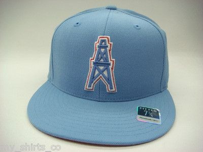Houston Oilers Sky Blue Red NFL Reebok Fitted Hat  fdfd116dfca