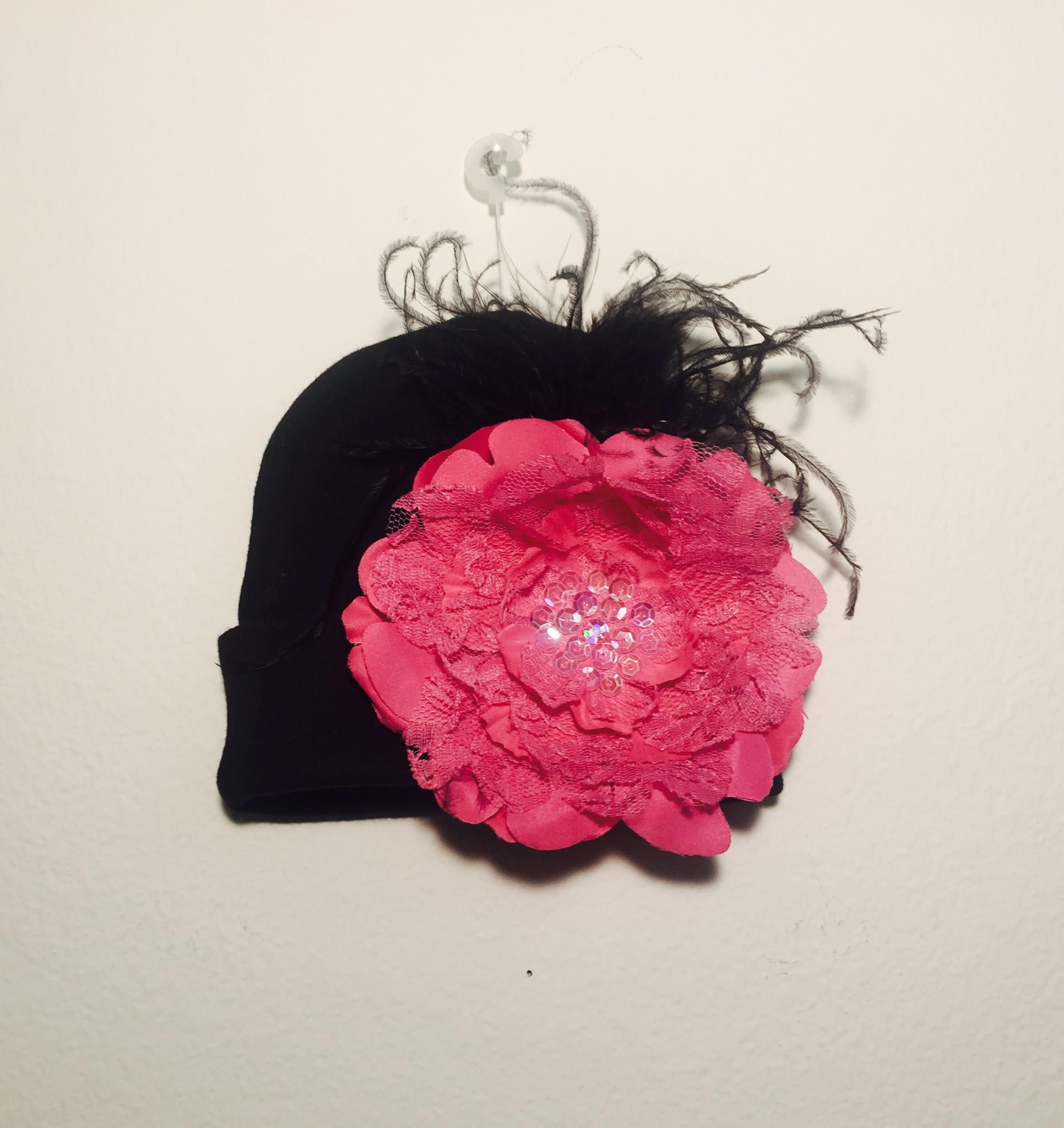 Persnickety+Baby+Black/Hotpink+Lacey+Beanie