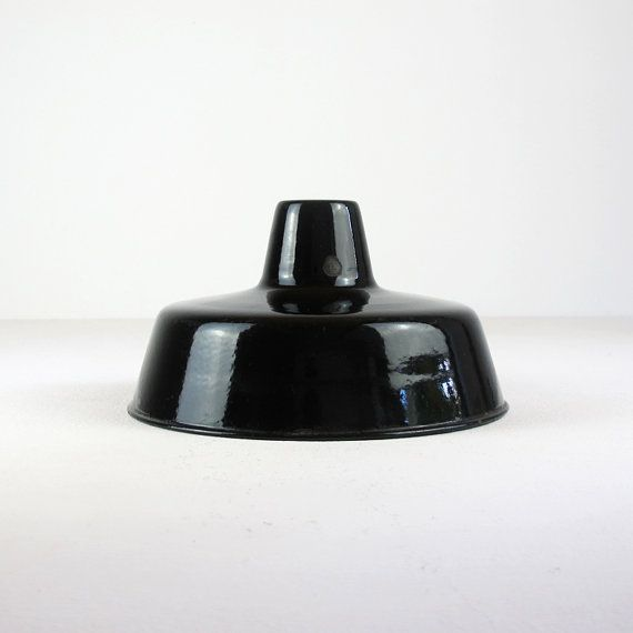 Vintage Industrial Enamel Pendant Light: Vintage Industrial Black Enamel Light Shade. Industrial