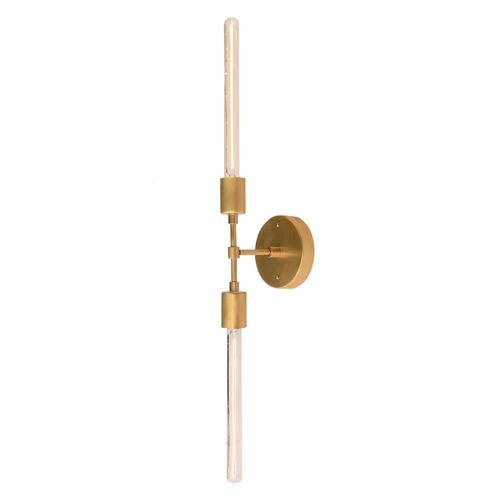 Cedar and moss vista 2 wall mounted sconce with two long for Brass bathroom sconce