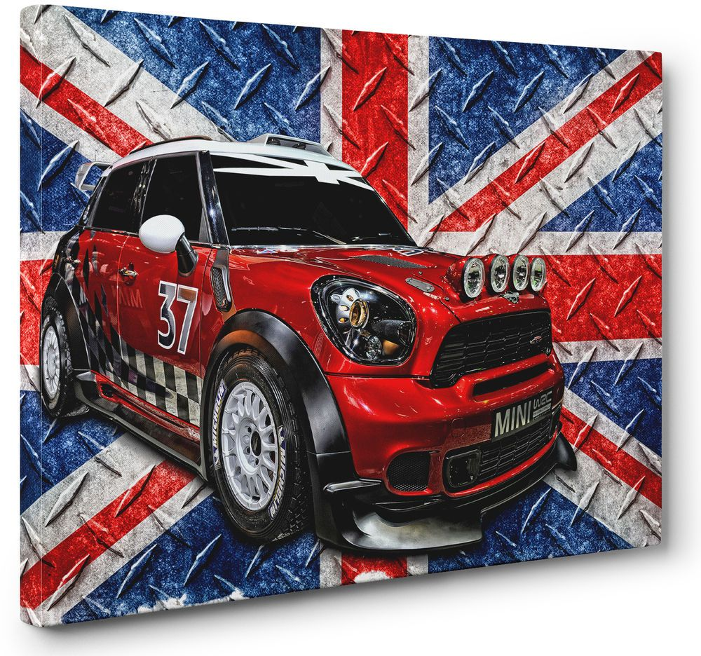 Any Size Blue Mini-Cooper Canvas Wall Art Print Large