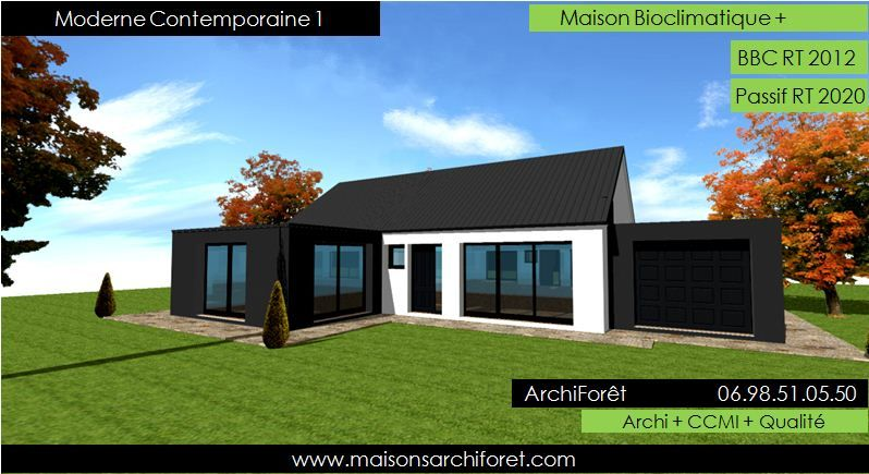 Plan et photo maison plain pied en l ou plein pied en rez for Constructeur architecte
