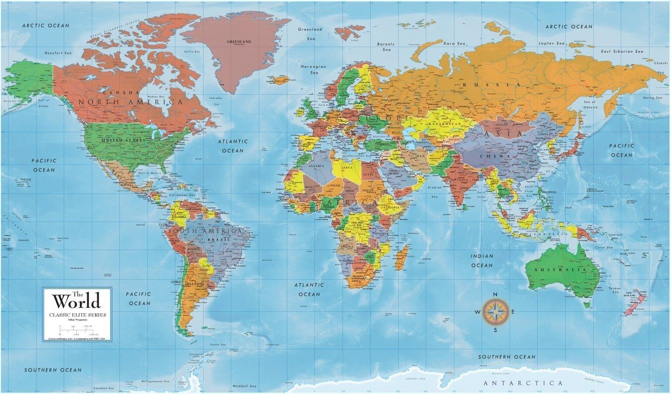 Pin by peter gould on how many countries are in the world world map current wall poster premier folded edition updated 24 x 36 inches new gumiabroncs Choice Image