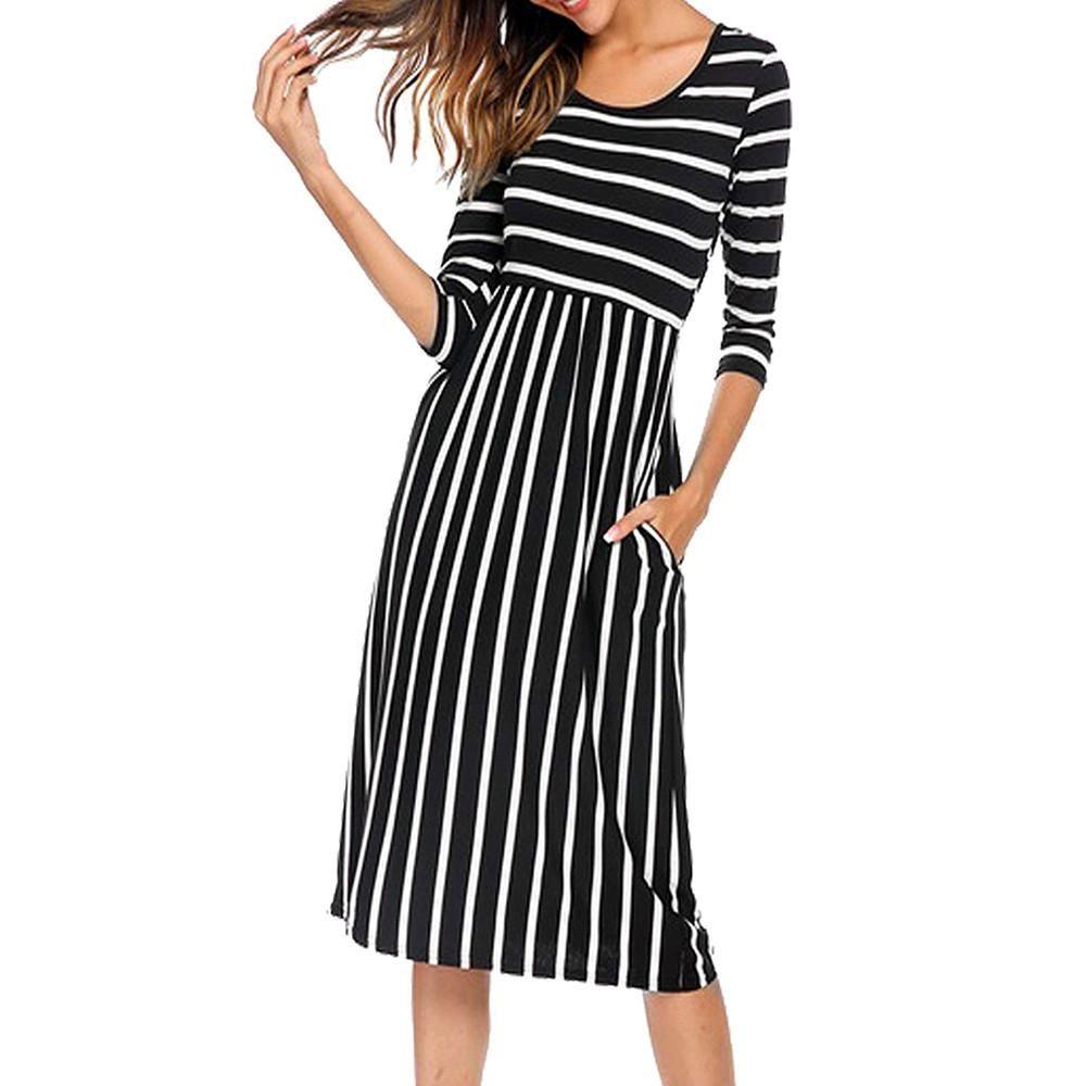 Women Casual Striped Three Quarter Sleeve Regular Natural O Neck Summer Pocket Dress Casual Dress Long Sleeve Midi Dress Versatile Dresses [ 1000 x 1000 Pixel ]