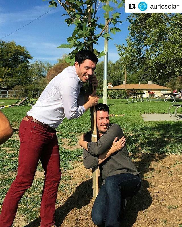 Drew & Jonathan Silver Scott help planting a tree in Salt Lake City.   October 2016