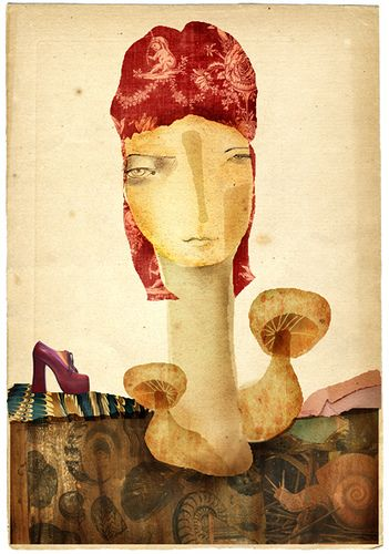 david bowie as a mushroom, with shoe and snail. by andrea_daquino