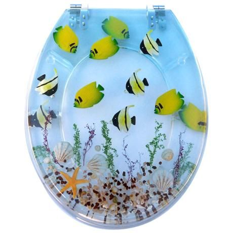 Tropical Fish Clear Resin Toilet Seat 81110 Tropical