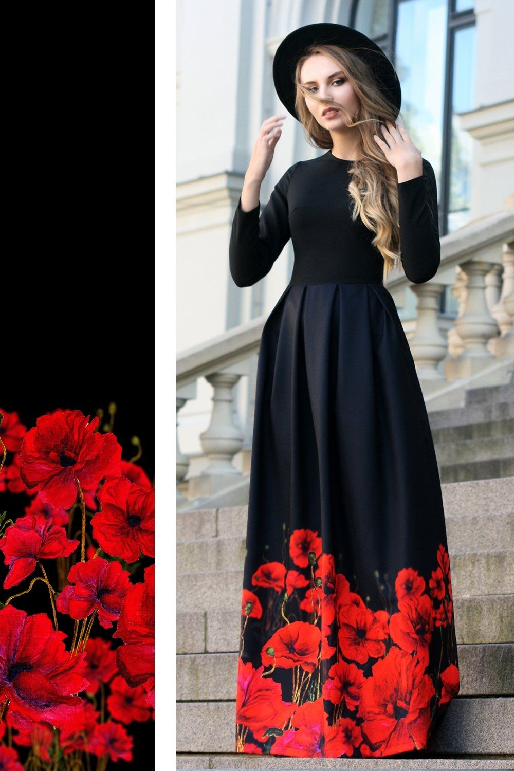 Long black dress with painted poppies dress or skirt pinterest