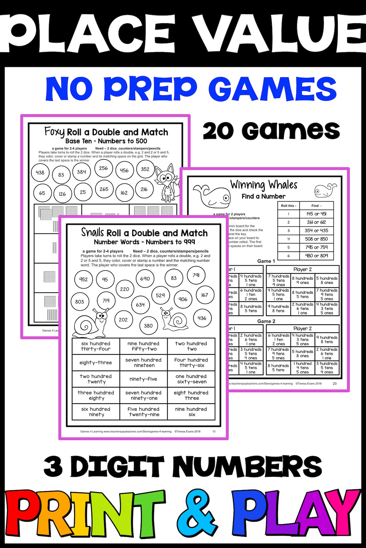 No Prep Place Value Games For 3 Digit Numbers Hundreds