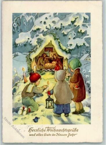 39162903 weihnachten kinder schauen in die krippe ak. Black Bedroom Furniture Sets. Home Design Ideas